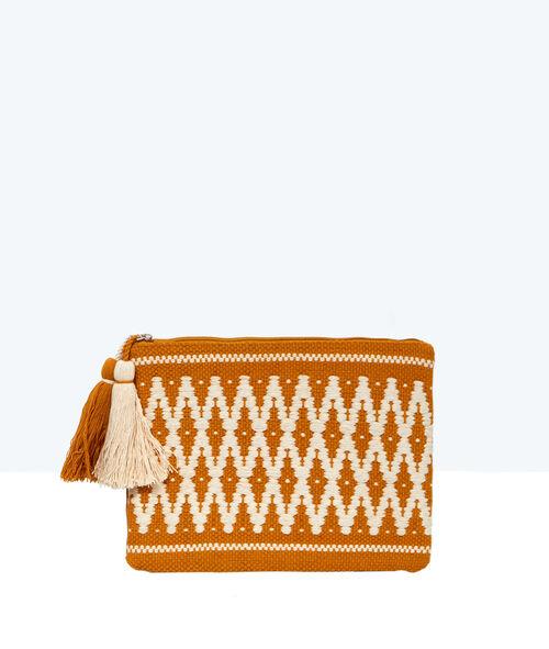 Pochette brodée aztèque à pompons