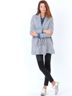 Knitted belted cardigan heather grey.