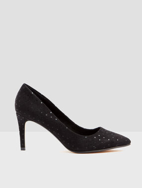 Dotty heeled court shoes black.