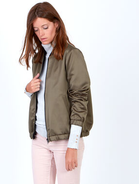Reversible bomber jacket with a satin finish khaki.