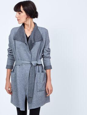 Long knit cardigan with belt grey.