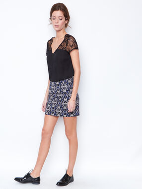 Jacquard skirt navy.