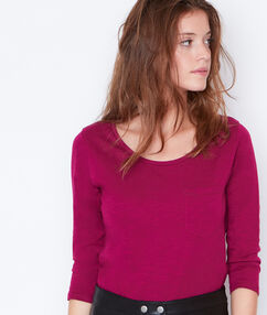 T-shirt manches 3/4 à col rond prune.
