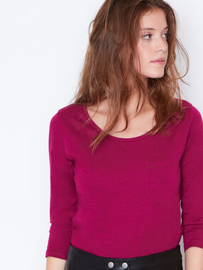 3/4 sleeve t-shirt with round collar plum.