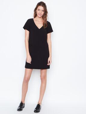 V neck dress black.