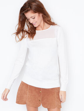 Sweater with sheer inserts white.
