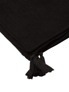 Foulard pompons noir.