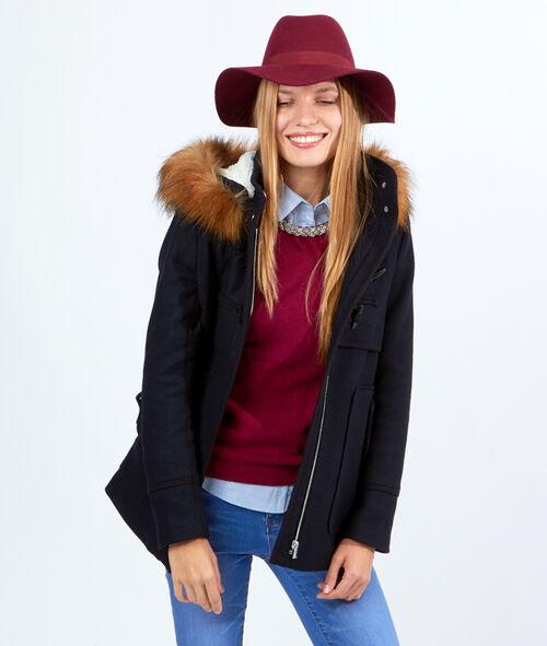 Manteau style duffle coat, capuche fausse fourrure