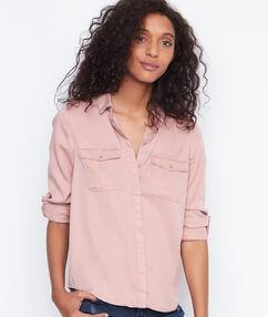 Camisa estilo militar manga larga rosa viejo.