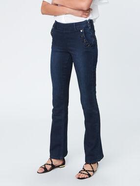 Pantalon évasé boutonné brut.