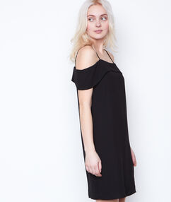 Cold shoulder dress black.