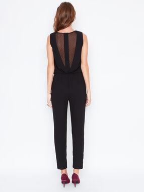 Wrap jumpsuit with lace details black.