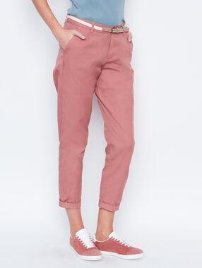 Pantalon carotte ceinturé vieux rose.