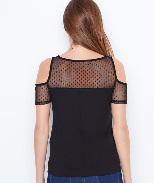 Cold shoulder top with lace insert