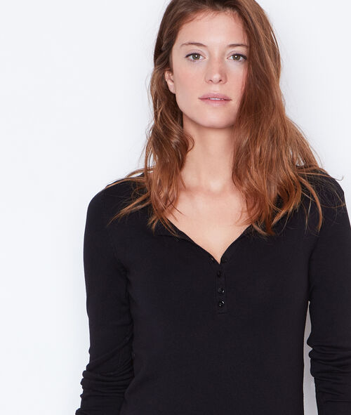 V-neck sweater with button