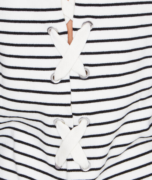 Striped sweater with lace up back detail