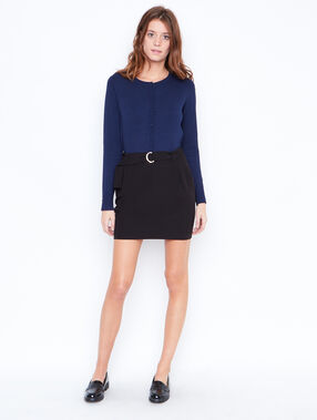 Round collar cardigan navy.