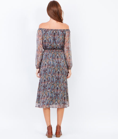 Off shoulder dress with cashmere prints