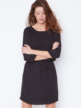 Dotty belted dress with lace back detail black.