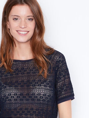 Short sleeve lace top navy.