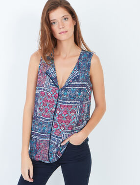 Printed top blue.