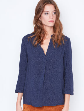 V-neck dotty blouse navy.