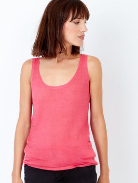 Sleeveless linen jumper raspberry.