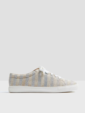 Striped sneakers silver.