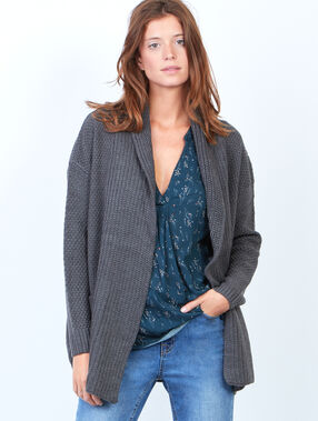 Long knit cardigan heather grey.