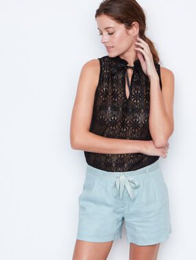 Linen shorts seagreen.