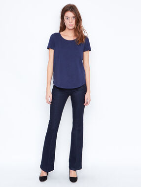 Round collar t-shirt navy.