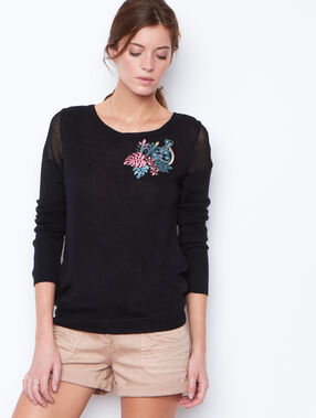 Embroidered sweater black.