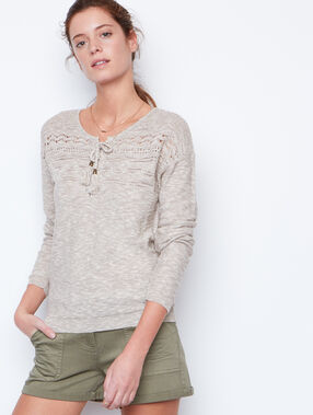 Lace sweater beige.