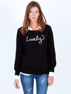 """Knitted jumper """"lovely"""" black."""