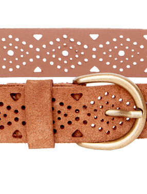 Split leather belt kamel.