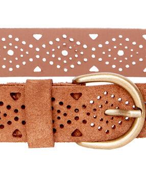 Split leather belt kamel.