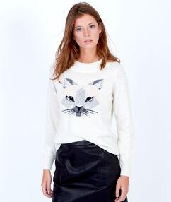 Pull en laine, motif chat blanc.