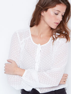 Blouse with tie neck detail white.