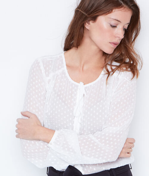 Blouse with tie neck detail