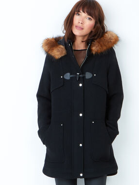Hooded coat with faux fur black.