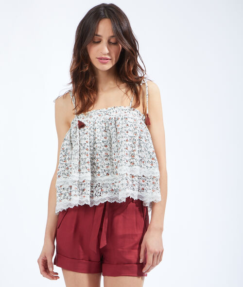 Ruffle floral print top with lace