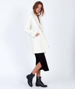 Manteau cocon en laine blanc.