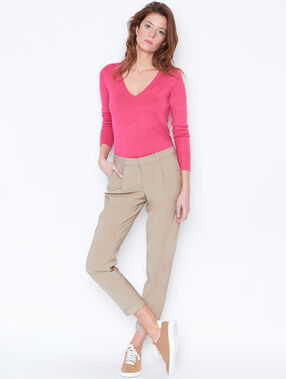 V-neck fine sweater pink.