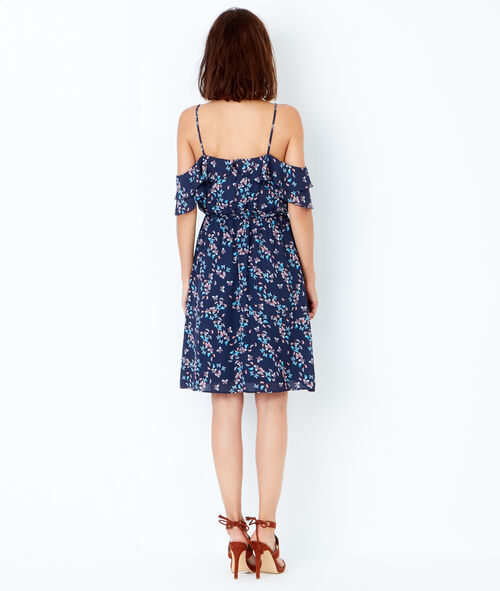 Printed cold shoulder dress