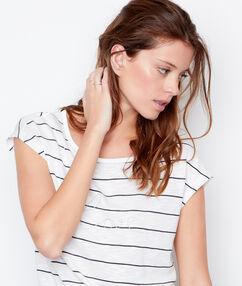 T-shirt rayé et brodé love blanc.