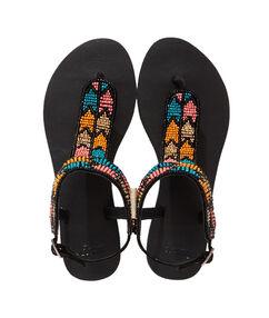 Sandales plates, brodées avec des perles noir/multicolore.