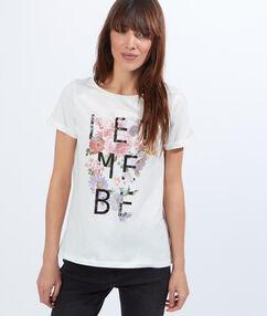Floral print cotton t-shirt off white.