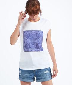 T-shirt imprimé bandana blanc.