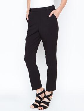 Pantalon droit boutonné noir.