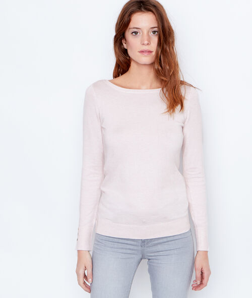 Fine knit slash neck sweater